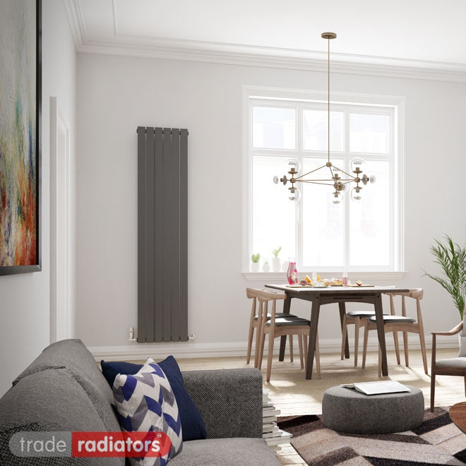 Anthracite Vertical Radiator installed in a contemporary living/dining room and positioned next to a window.