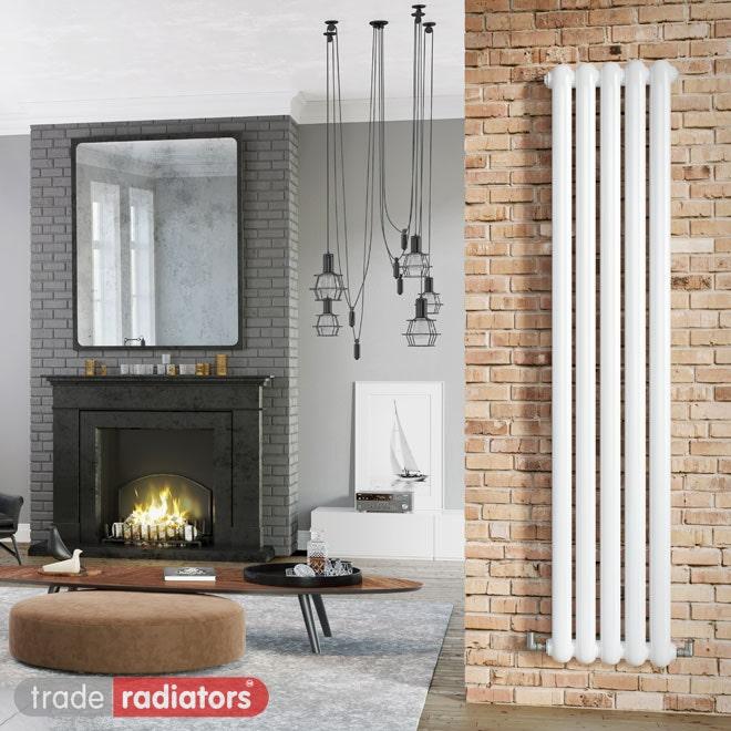 White vertical radiator