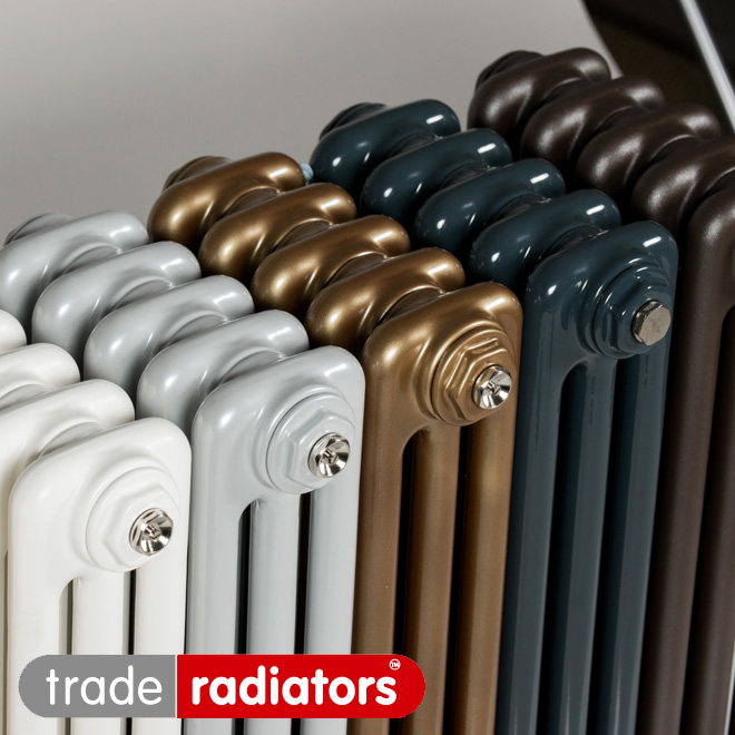 A selection of different coloured column radiators