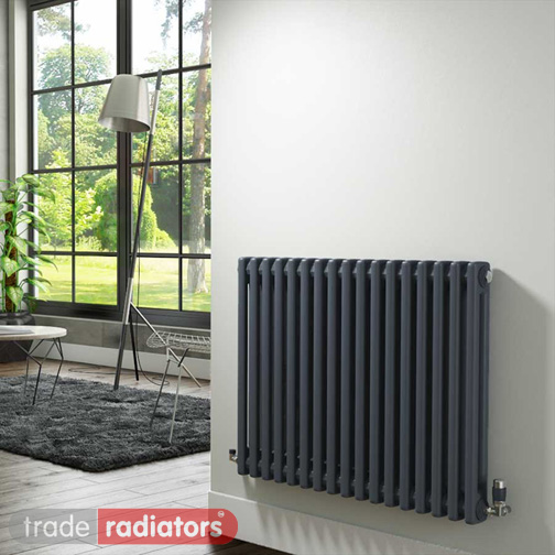 An anthracite column radiator in a house
