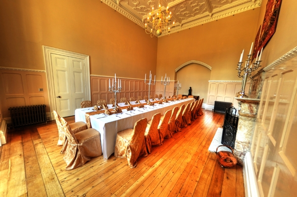 The dining room. Middleton Hall, listed Victorian Country House in Alnwick, Northumberland.