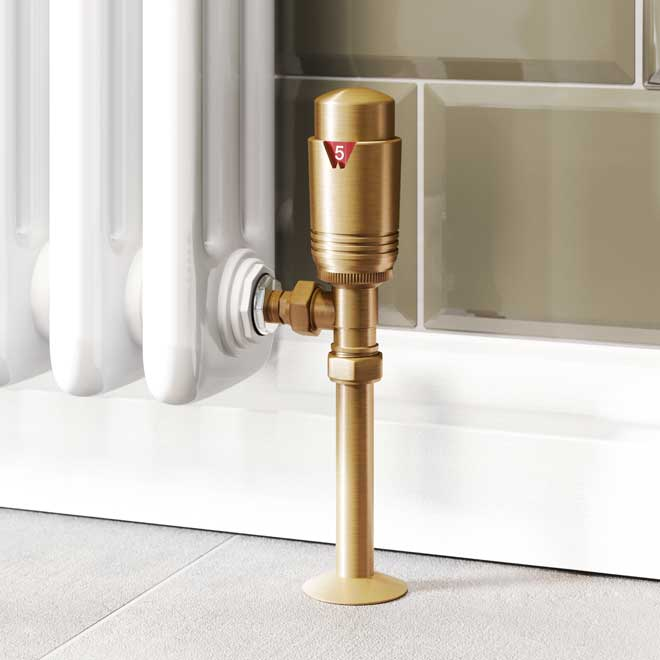 A Trade Direct Thermostatic Radiator Valve, Modern, Antique Brass Angled.