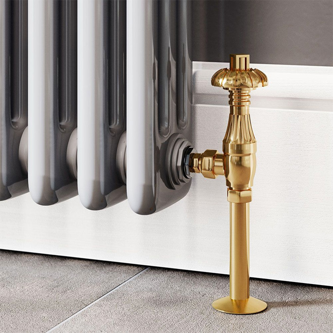 Trade Direct Thermostatic Valves, Traditional Metal Head, Polished Brass Angled.