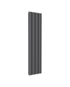 Reina Belva Aluminium Designer Radiator, Anthracite, 1800mm x 412mm - Double Panel