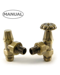 West Manual Valves, Abbey, Old English Brass Angled - 22mm
