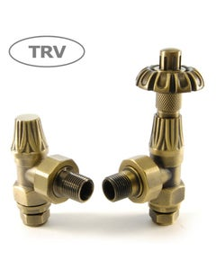 West Thermostatic Valves, Abbey, Old English Brass Angled