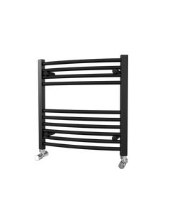 Trade Direct Towel Rail - 22mm, Black Curved, 600x600mm (Electric)