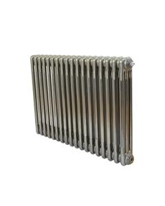 Nordic 3 Column Radiator, Raw Metal, 600mm x 834mm