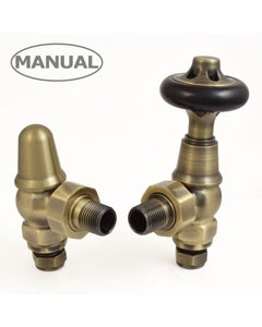 West Manual Valves, Commodore, Antique Brass Angled