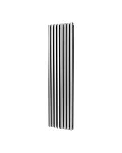 DQ Cove Stainless Steel Designer Radiator, Satin, 1800mm x 413mm - Double Panel