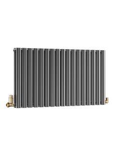 DQ Cove Designer Radiator, Black Nickel Lacquer, 600mm x 413mm - Double Panel