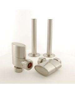 West Manual Valves, Ellipse, Satin Nickel Angled with Sleeve Kit - 8mm