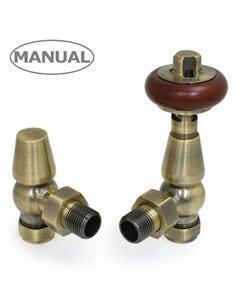 West Manual Valves, Eton, Antique Brass Angled
