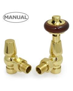 West Manual Valves, Eton, Polished Brass Angled