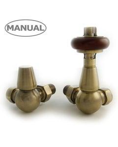 West Manual Valves, Eton, Antique Brass Corner