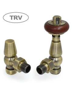 West Thermostatic Valves, Faringdon, Antique Brass Angled
