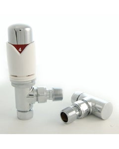 West Thermostatic Valves, Realm, White/Chrome Angled - 10mm