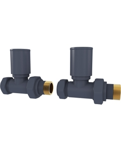 Trade Direct Manual Valves, Round, Anthracite Straight - 10mm