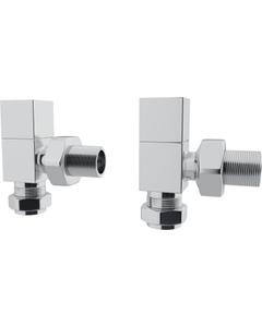 Trade Direct Manual Valves, Square, Chrome Angled  - 8mm