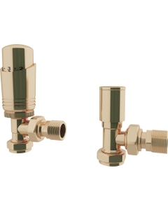 Trade Direct Thermostatic Valves, Modern, Polished Brass Angled - 10mm