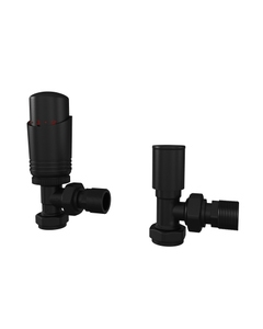 Trade Direct Thermostatic Valves, Modern, Black Angled - 10mm