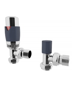 Trade Direct Thermostatic Valves, Modern, Anthracite/Chrome Angled - 8mm