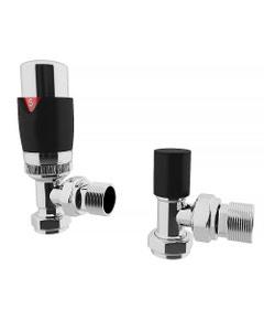 Trade Direct Thermostatic Valves, Modern, Black/Chrome Angled - 8mm