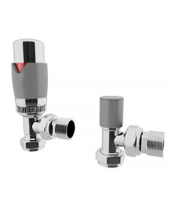 Trade Direct Thermostatic Valves, Modern, Silver/Chrome Angled - 8mm