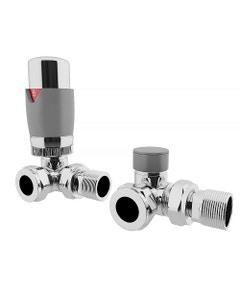 Trade Direct Thermostatic Valves, Modern, Silver/Chrome Corner - 8mm