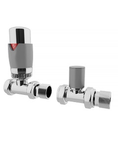 Trade Direct Thermostatic Valves, Modern, Silver/Chrome Straight