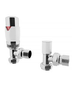 Trade Direct Thermostatic Valves, Modern, White/Chrome Angled - 10mm