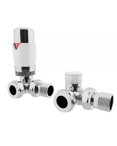 Trade Direct Thermostatic Valves, Modern, White/Chrome Corner - 10mm
