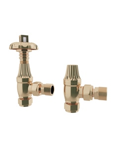 Trade Direct Thermostatic Valves, Traditional Metal Head, Polished Brass Angled