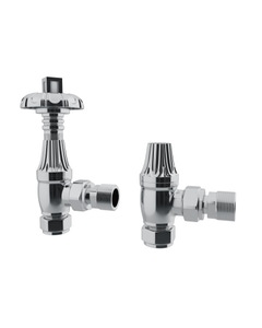 Trade Direct Thermostatic Valves, Traditional Metal Head, Chrome Angled