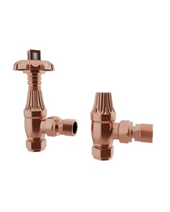 Trade Direct Thermostatic Valves, Traditional Metal Head, Copper Angled