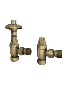 Trade Direct Thermostatic Valves, Traditional Metal Head, Antique Brass Angled