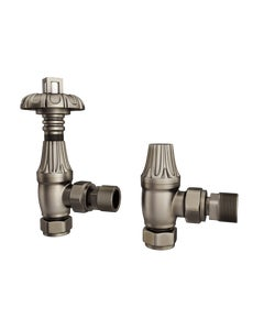 Trade Direct Thermostatic Valves, Traditional Metal Head, Natural Pewter Angled