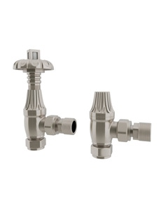 Trade Direct Thermostatic Valves, Traditional Metal Head, Satin Nickel Angled