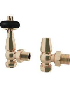 Trade Direct Thermostatic Valves, Traditional Wooden Head, Polished Brass Angled