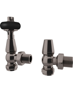 Trade Direct Thermostatic Valves, Traditional Wooden Head, Black Nickel Angled