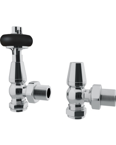 Trade Direct Thermostatic Valves, Traditional Wooden Head, Chrome Angled