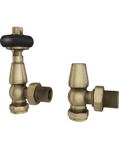 Trade Direct Thermostatic Valves, Traditional Wooden Head, Antique Brass Angled