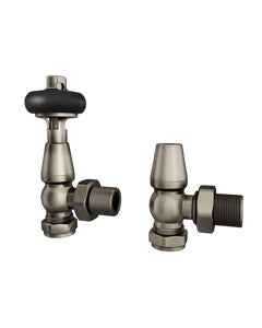 Trade Direct Thermostatic Valves, Traditional Wooden Head, Natural Pewter Angled