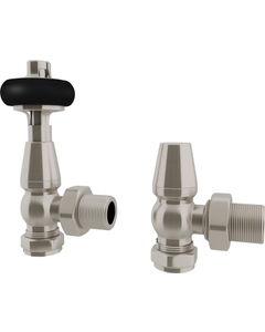 Trade Direct Thermostatic Valves, Traditional Wooden Head, Satin Nickel Angled