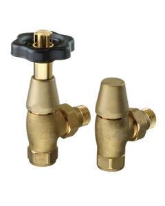 Nordic Thermostatic Valves, Brass/Black Angled