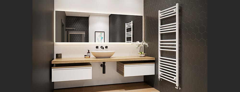 white heated towel rails