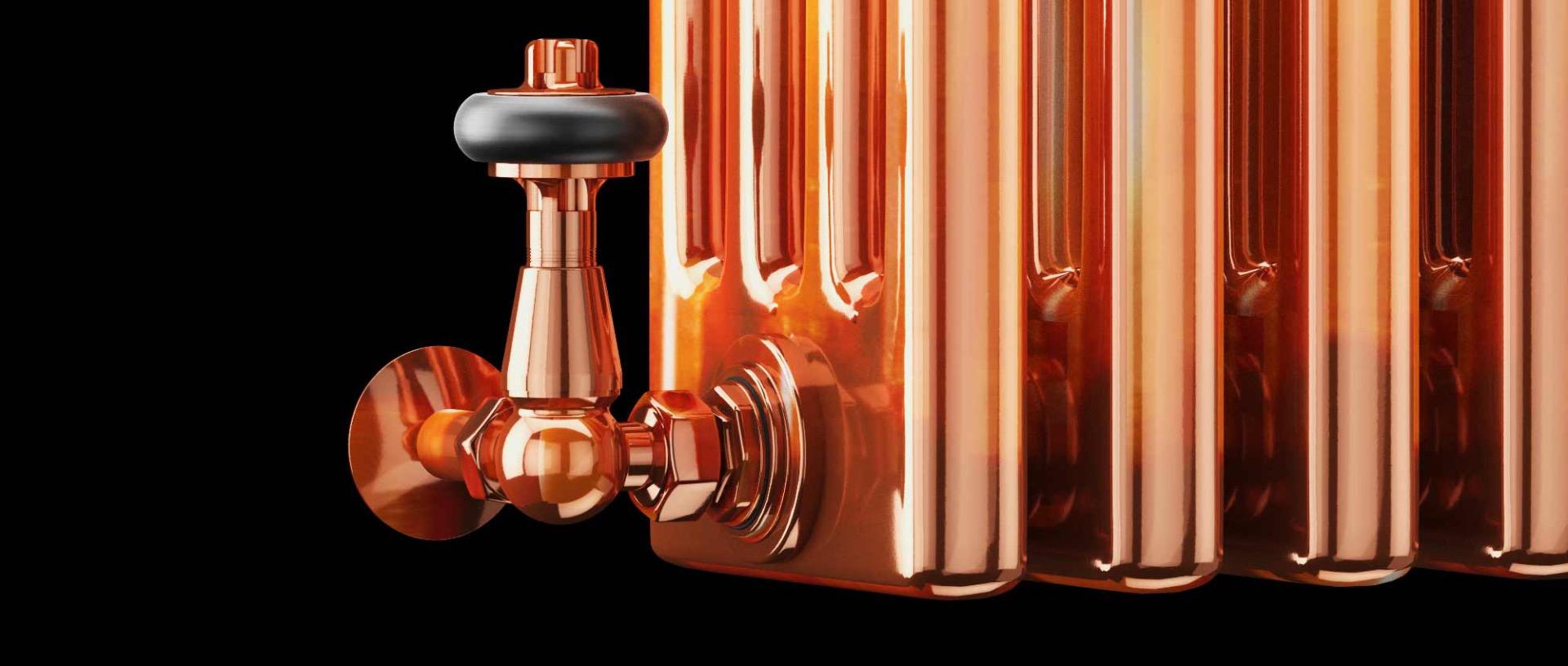 copper traditional radiator valves